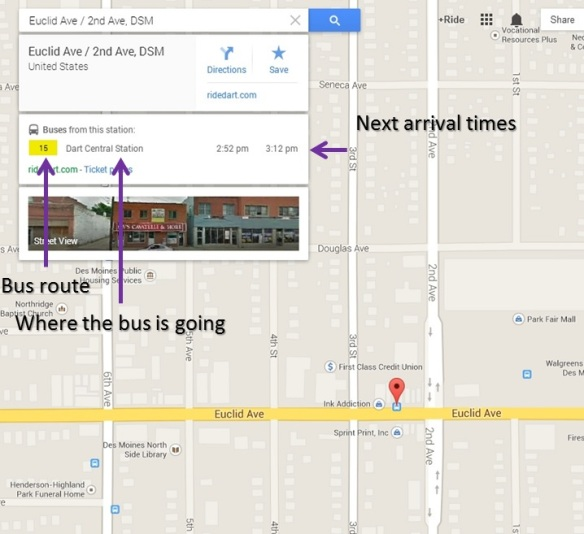 Bus Stops now display on Google Maps | The Bus Blog — Des Moines, Iowa