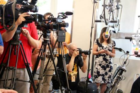 Media from across the county filled the bicycle storage room at DART Central Station to hear Hillary Clinton speak.